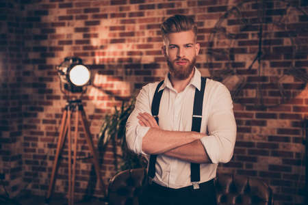 Leader leadership professional authority success individuality classy model concept. Portrait of handsome stunning virile elegant masculine attractive strong powerful freelancer keeping hands folded