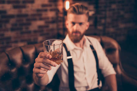 Stylish macho classic bracers suspenders accessory close up concept. Handsome attractive elegant stunning serious resting relaxing having weekend gigolo offering you to drink with him Imagens