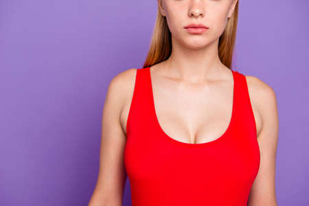 Cropped close up view photo portrait of beautiful attractive woman's body part wearing bright red clothing isolated vivid shiny background copy space