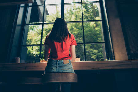 Back rear view of young girl wearing casual sitting in cafeteria coffee shop in front of big window. Low angle view