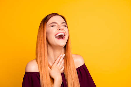 Close up photo portrait of beautiful cheerful delightful glad with toothy beaming smile lady wearing burgundy clothing outfit laughing with closed eyes isolated vivid bright background copy space