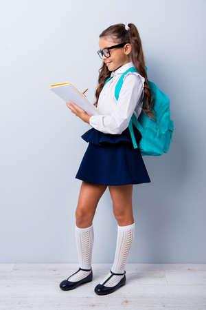 Volledige lichaamslengte van mooi slim schattig vrolijk stijlvol schattig klein meisje met gekrulde staartjes in wit blouseoverhemd en blauwe rok, notities schrijven in boek. Geïsoleerd over grijze achtergrond