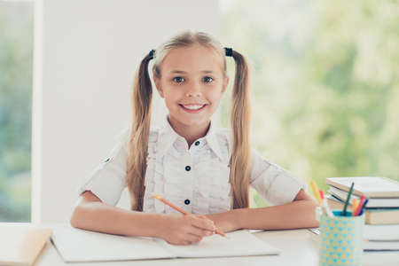 I'm the best pupil among classmates! Close up photo indoors portrait on clever cute lovely with toothy beaming smile girl with blonde hair ponytails writing notes to textbook