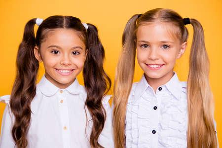Close-up portret van mooie, mooie, charmante, prachtige, schattige, knappe kleine meisjes kijken direct naar de camera geïsoleerd op glanzend gele achtergrond