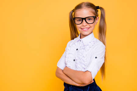 Academic knowledge intellectual people person concept. Close up photo portrait of sweet adorable lovely with two pigtails long hairdo crossed hands girl isolated bright vivid color background Stock Photo