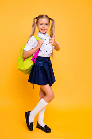 Full length, legs, body, size vertical profile side view photo of beautiful, pretty, charming small girl in skirt show, give thumbs up stand isolated on shine yellow background Banque d'images - 107152016