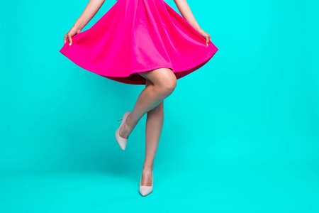 Cropped closeup studio view photo portrait of attractive elegant pretty lady dancing on bright vivid background copy space