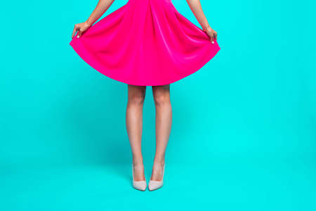 Cropped close up studio photo of charming pretty attractive lady's apparel isolated on bright vivid background copy space Stockfoto