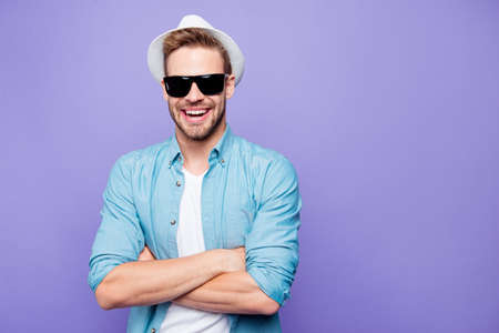Attractive bearded trendy stylish confident positive cheerful ma