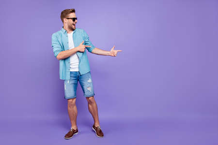 Full body size length of attractive bearded trendy stylish confi