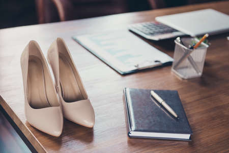 Successful business entrepreneur lady boss concept. Close up, cr