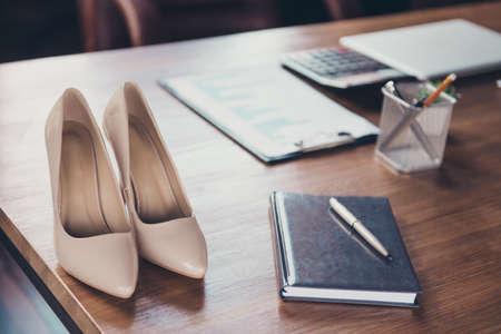 Concepto de jefe de dama de empresario exitoso. De cerca, cr Foto de archivo
