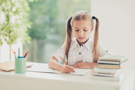 Home work difficult task test first grade back to school concept