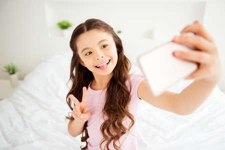 Self-portrait of charming adorable cute sweet nice caucasian sma