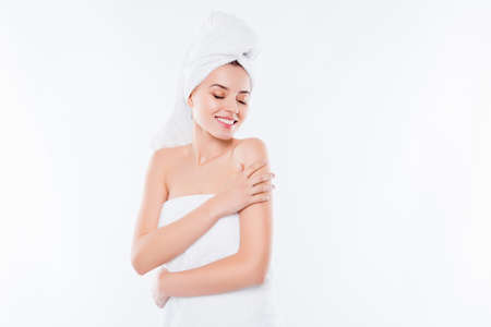 Portrait of charming sensual girl after shower with towel