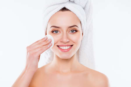 Close up of attractive charming girl with towel on her head Stock Photo