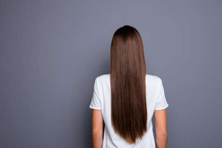 Rear view of brown-haired  young lady with long hair. Stock Photo