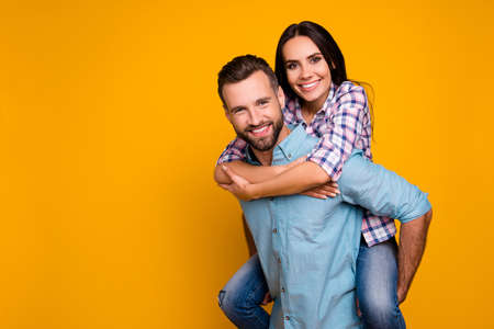 Portrait with copyspace of stylish trendy couple, handsome man c