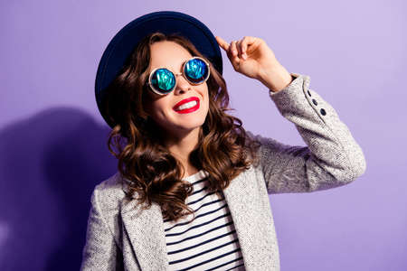 Portrait of toothy cheerful girl with beaming smile red lipstick Stock Photo