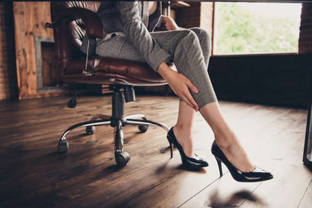 Close-up cropped classic stylish elegant business ladys legs in Stock Photo