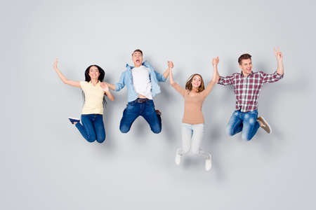 oncept of joy and fun Full length, legs, body, size portrait Stock Photo