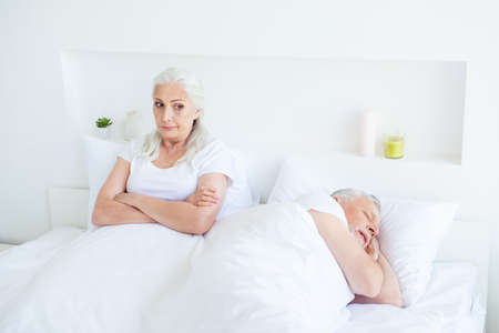 Relax, rest, retired, concept. Upset, dissatisfied woman looks a Imagens - 108022412