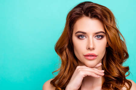 Close up portrait of gorgeous, adorable flawless young woman Stock Photo