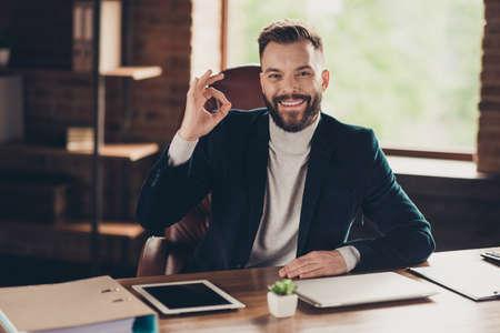 Elegant classic cheerful smart clever intelligent bearded man Stock fotó