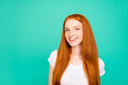 Portrait of nice glad positive cheerful attractive cute bright v Stock Photo