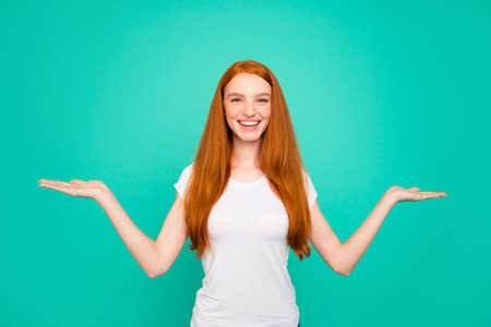 Portrait of adorable positive cheerful glad cute bright vivid sh