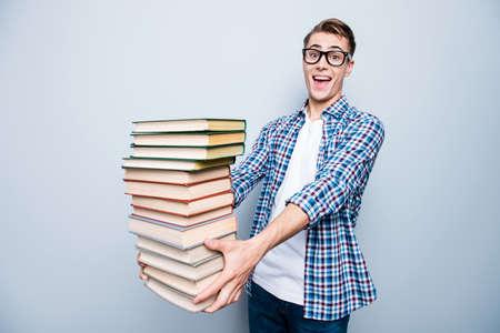 Portrait of good-looking, a-student, handsome reader high school Stok Fotoğraf