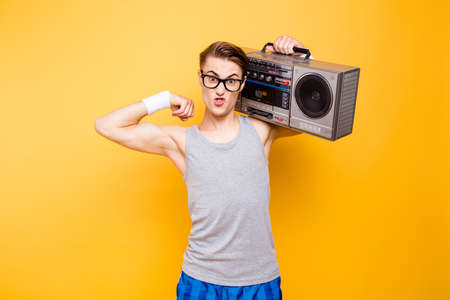 I am a champion in the sports and music Portrait of masculinity Stock Photo