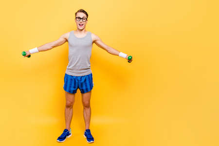 Full length body size of funky cheerful nice positive caucasian Stock Photo