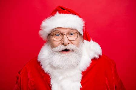 Reaction win winner victory concept. Stylish Santa in headwear s Stock fotó - 112337681