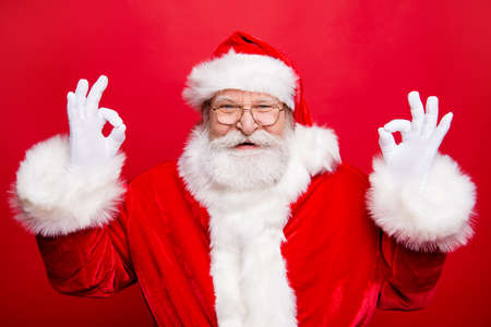 Tradition noel december winter  Santa in headwear with happiness Stock Photo