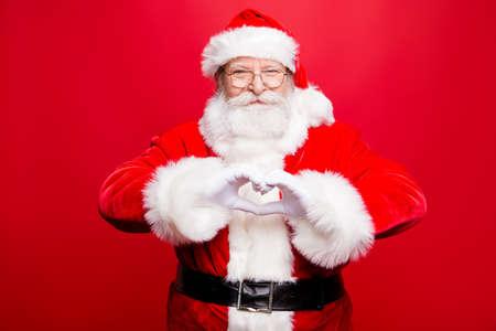 Festive noel seasonal kind positive stylish aged Santa look at c