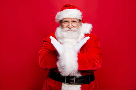 Concentrated confident aged stylish Santa with serious face whit Stock fotó