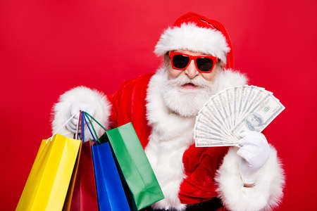 Aged fancy stylish trendy mature grandfather shopper Nicholas in