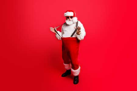 Full length body size of cheerful positive optimistic glad Santa