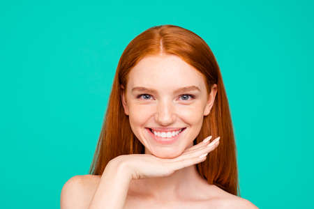 Health and beauty concept. Close-up portrait of nice red-haired Stock Photo