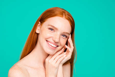 Advertising concept. Cheerful nude natural red girl, shiny pure Stock Photo