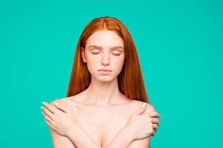 Health, body care concept. Portrait of nice perfect nude calm re Stock Photo