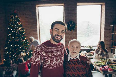 Portrait of two people, cheerful glad grey-haired grandpa Standard-Bild
