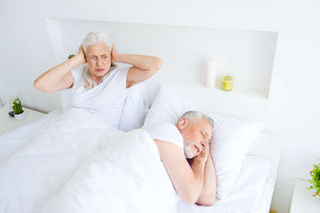 Relax, rest, retired, concept. Gray hair woman twisted her face Imagens - 112451622