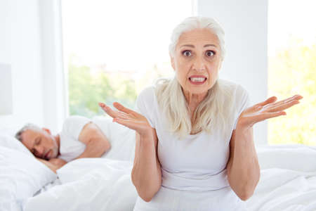 Portrait of grey haired old nice beautiful amazed disappointed Stock Photo