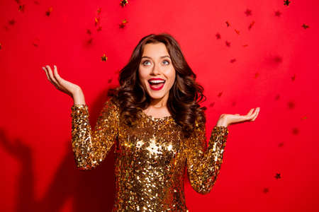 Portrait of woman posing with red background. Stock Photo