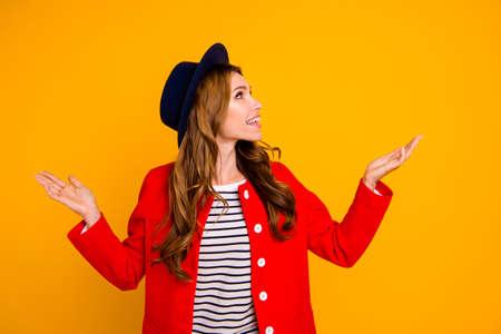 Portrait of nice cute cheerful woman. Imagens