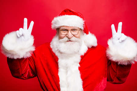 Prepare for best party night time Portrait of cheerful funky old man wearing santa clause costume 스톡 콘텐츠 - 110461841