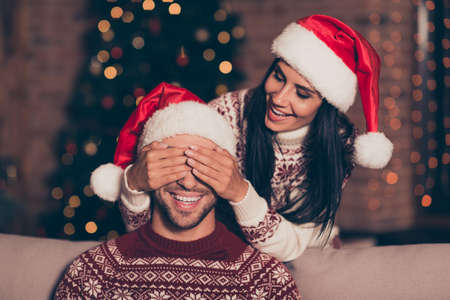 Hide and seek concept. Attractive, happy lady close cover eyes her man who sit on cozy couch in living room with lights garland decorations on pine tree make big toothy smile