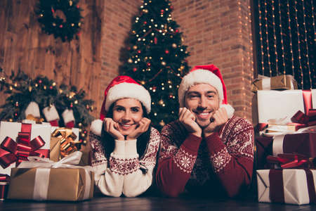 Christmastime party, rest, relax, chill concept of loving couple